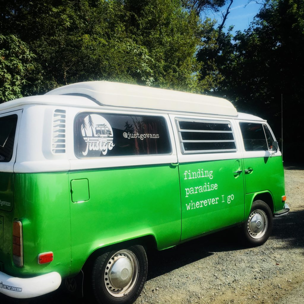 olive justgovans 1972 dormobile westfalia green vancouver island rental for rent justgo nanaimo