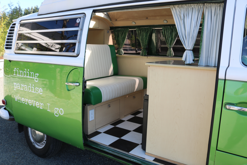 westy westfalia for rent vancouver island green 1972 just go vans camper van for hire canada british columbia